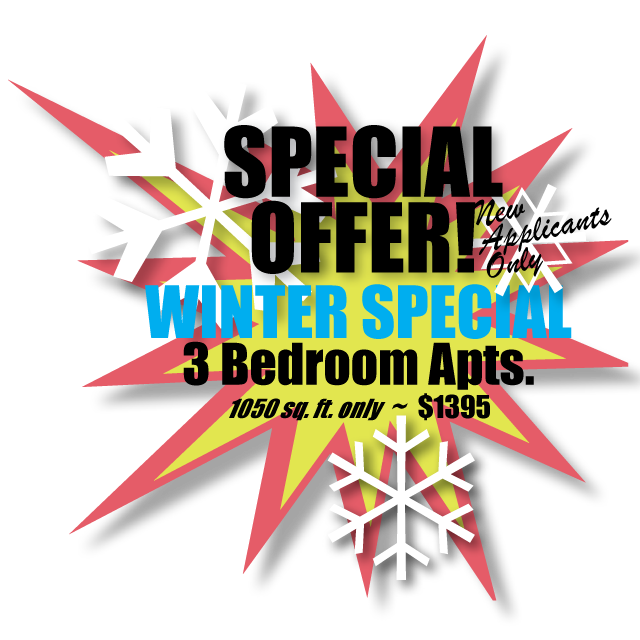 3 Bedroom Apartments for 1050 sq. ft. for only $1395 - Winter Special - New applicants only